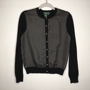 Lauren Ralph Lauren Silk Polka Dot Cardigan PS